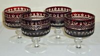 4 Vintage Bohemian RUBY Cased Cut to Clear Crystal SHERBETS Dessert Bowls Dishes