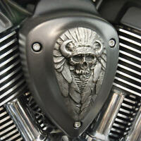 Native Spirit insert for Indian motorcycle horn cover in aged aluminum. NSIA-1