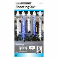 Gemmy Lightshow SHOOTING STAR Icy Blue LED Icicle Lights - Set of 10 - NEW