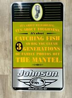 Johnson Outboard Boat Motor Metal Advertising Sign Vintage Fishing Man Cave Old