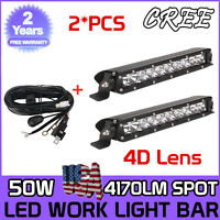 2X11inch 50W Slim Single Row LED Light Bar Spot ATV Trailer Vehicle 4D W/ Wiring