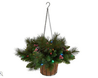 Bethlehem Lights Canterbury Hanging Basket with Pinecones Multi-Color H208931
