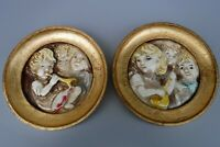 2pc Italy Mid Century Framed Pottery Wall Plaques Angelic Musical Children