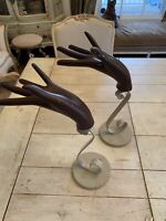 Pair Vintage Hand  Female Model Prop Mannequin Jewelry Glove Display Iron Scroll