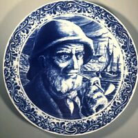 Pair Boch Freres Delfts Blue & White Charger Plates Sea Captain & Wife