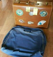 Vintage Pilots USAF Samsonite  Leather Suitcase with Cover~ 1950~56 Free Ship!