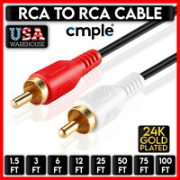 RCA Stereo Audio Cable Dual RCA Male Gold Plated AV Cord FOR HDTV DVD VCR LOT $10.97