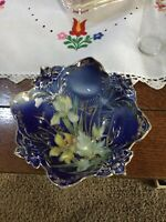 Majolica Dark Blue And Gold Footed Bowl With Irises Decorative Fluted Edge