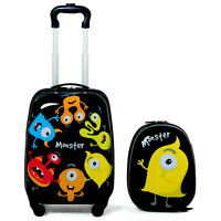 2Pc Kids Boys Luggage Set Hard Shell Rolling Trolley Suitcase Backpack Carry Bag