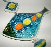 Vtg Mid Century Modern Art Pottery FISH Wall Hanging Plaque Mobile Bitossi Style