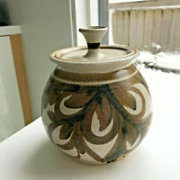 Mid Century Signed Brown? Modern Studio Art Pottery Covered Jar Canister