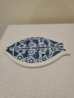 PORSGRUND NORWAY Blue & White FISH DESIGN TRIVET 8