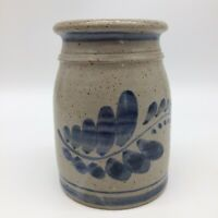 Pottery Stoneware Vase Grey With Blue Branch & Leaves