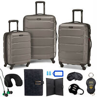 Samsonite Omni Hardside Nested Luggage Spinner Set Silver w 10pc Accessory Kit