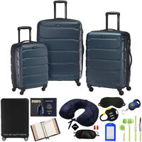 Samsonite Omni Hardside Nested Luggage Spinner Set Teal w 10pc Accessory Kit