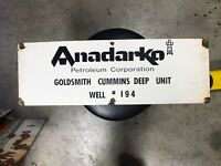 Anadarko Porcelain Lease Sign Gas Oil Antique Man Cave Barn Wall Original