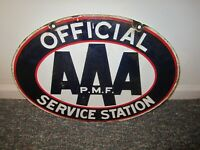 ANTIQUE AAA PORCELAIN SIGN SERVICE STATION GAS OIL GARAGE MAN CAVE REPAI SHOP