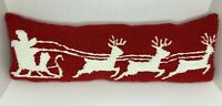 Christmas Santa Sleigh Reindeer Hooked Pillow Punch Needle Red White 25 X 9