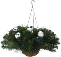 Bethlehem Lights Mixed Greenery With Ornaments Hanging Basket SILVER-CLEAR