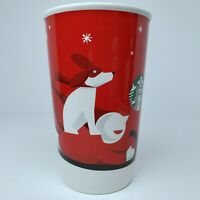 Starbucks Coffee Winter Sled Dog Child New Bone China Holiday Red Mug Cup