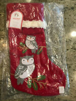 Pottery Barn Kids Woodland Owl Red Stocking Quilted NEW Christmas