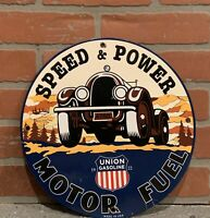 Vintage Porcelain Union Speed And Power Gas Sign Service Station Oil Pump Plate