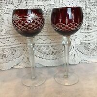 Pair of 2 Cut-to-Clear Bohemian Crystal Ruby Red Wine Glasses