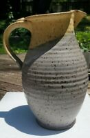 Studio Pottery Stoneware Pitcher Lavender And Tan Marked Mf