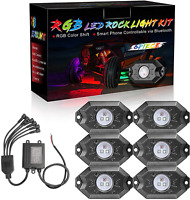 6-Pod RGB LED Rock Light Offroad Wireless Bluetooth Music ATV UTV Boat Truck RZR