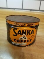 VINTAGE SANKA COFFEE CAN UNOPENED 1LB WITH KEY