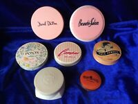 VINTAGE 7 FACE POWDER MAKEUP TINS Containers, RADIO GIRL DECO