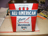 Vintage ALL AMERICAN Pure Motor Oil 2 Gallon Metal Can Gas Station Sign