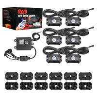 Updated 6x Pods RGB LED Rock Light Offroad Wireless Bluetooth Music ATV UTV Boat