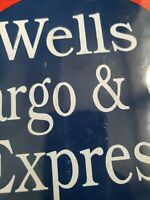 vintage wells Fargo & co Express porcelain sign gas and oil train