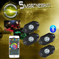 RGB LED Rock Lights Bluetooth App Phone Controller 4 Pods Neon DRL Offroad Lamp