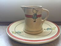 Antique Roseville Juvenile Sunbonnet Girl Plate and Creamer C/1910