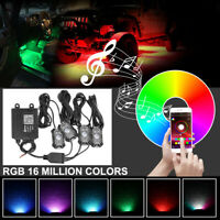 LED RGB Rock Light Kits APP Bluetooth Control 4 Pods Timing Music Trucks ATV SUV