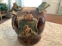Vintage Frog Planter Pottery Bowl Frogs Green Brown Majolica Glazed Unique