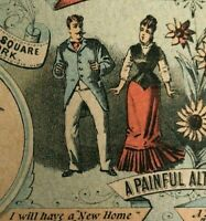 Victorian Advertising Singer Sewing Trade Card A New Home Or Divorce