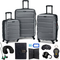 Samsonite Omni Hardside Nested Luggage Spinner SetCharcoal w10pc Accessory Kit