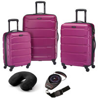 Samsonite Omni Hardside Luggage Nested Spinner Set of 3 Pink with Travel Kit