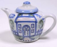 M.A. HADLEY POTTERY Blue Country Pattern: TEA POT House Design 5
