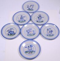 Lot of (7) M.A. HADLEY POTTERY Blue Country Pattern:  SALAD PLATES 7.75