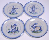 4  M.A. HADLEY POTTERY Blue Country Pattern DINNER PLATES Cow FARMERS House 11