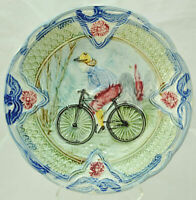 Antique French Faience Majolica Bicycle Cabinet Plate c 1900