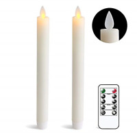 DRomance Flameless Taper Candles with Remote and Timer, Moving Wick LED Window x