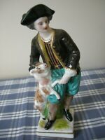 FRENCH GEORGIAN FIGURE OF A MAN w/ GOAT Hand-painted Porcelain Figurine, France