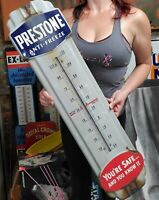 Vintage Prestone Anti-Freeze Thermometer Porcelain Gas Oil Sign Advertising