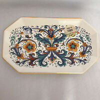 Nova Deruta Pottery Ricco Ceramic Dish Oblong Octagon Floral Made in Italy