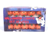 Vintage Halloween String Lights Pumpkin 10 Blow Mold Light Cover Funny Toys 1988
